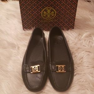 Tory Burch Black Leather Kendrick Driving Loafers
